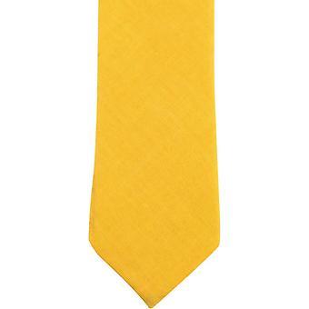 Knightsbridge Neckwear planície algodão Skinny Tie - amarelo mostarda
