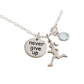 Gemshine Kette Runner - Never Give Up 925 Silber, vergoldet, rose Jogging