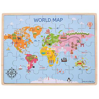 Bigjigs Toys Wooden World Map Puzzle Jigsaw (35 Pieces) Educational Geography