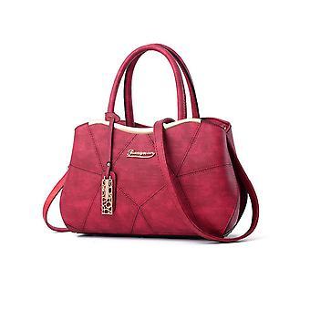 Ladies Designer Long Handle Tote Shoulder RED Handbag Leather Bag SN170