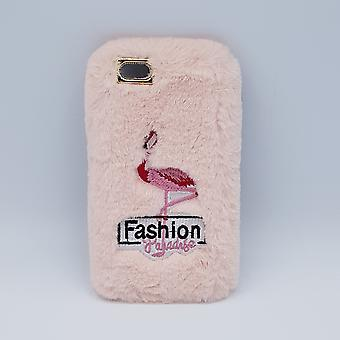 soft fluffy-case for iPhone 6-flamingo pink