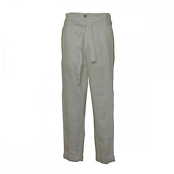 Mac Jeans Linen Straight Fit Crops With Bow Belt
