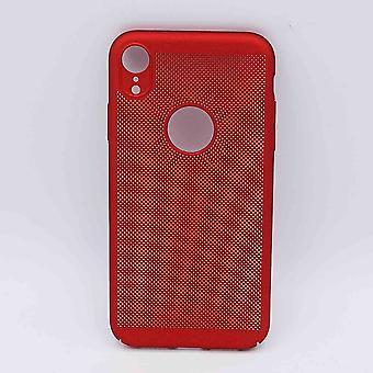 Voor IPhone XR - hoesje - metaal gaas look - Rood