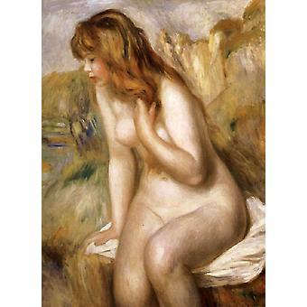 Bather escolher em uma rocha, Pierre Renoir, 80x64cm