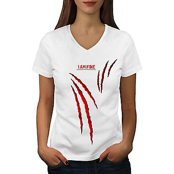 Blood I am Fine Women WhiteV-Neck T-shirt | Wellcoda