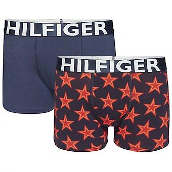 Tommy Hilfiger jungen 2 Pack Boxer Trunk, Scooter rot / Navy Blazer, X-Large