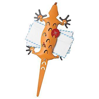 Orange Leather Amigos Lizard Memo Holder & Magnetic Feet