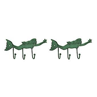 Grønne Verdigris støpejern svømming Mermaid veggen kroken Racks sett med 2