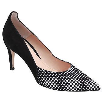 Perlato Monochrome Suede High Heel Court Shoes