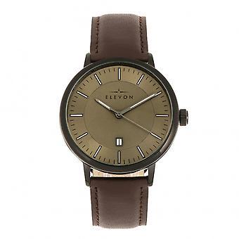 Elevon Vin Leather-Band Watch w/Date - Black/Brown