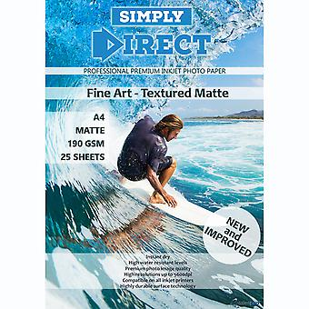 25 x Simply Direct A4 Textured Fine Art Matte Photo Paper - 190gsm - Professional Premium Inkjet Paper