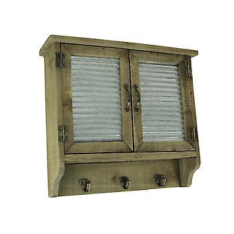 Rustikk tre og metall Wall Mount lukkeren kabinett med kroker
