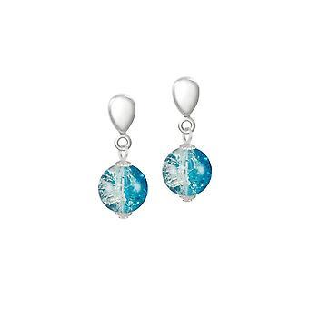 Eeuwige collectie carnaval Turquoise Tsjechisch glas Crackle kralen zilveren Toon Drop Clip op oorbellen