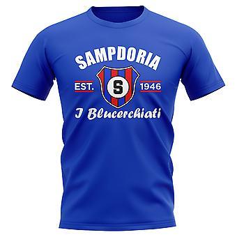 Sampdoria perustettiin jalka pallo T-paita (sininen)