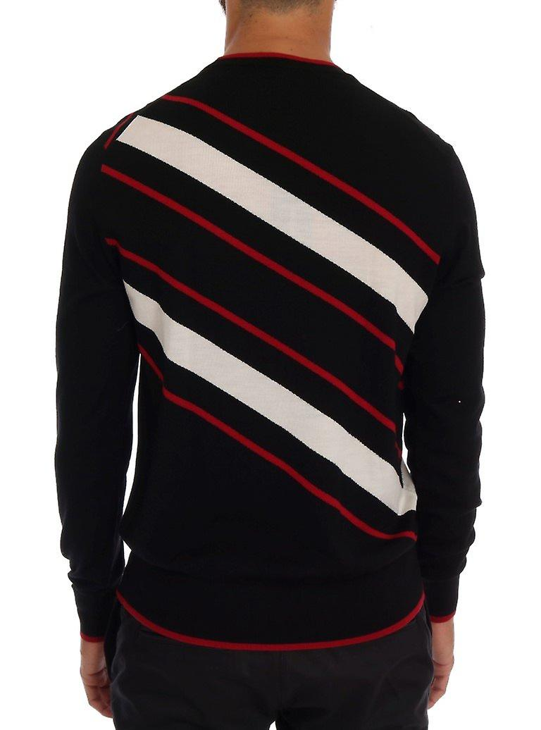 Black wool sequined red white striped sweater