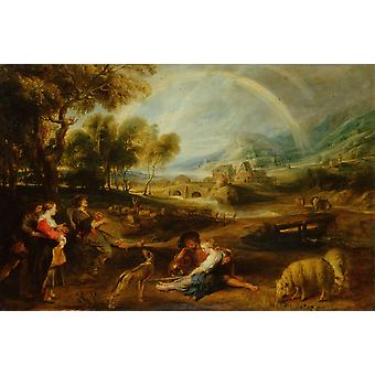 المناظر الطبيعية مع قوس قزح، بيتر بول روبنز، 60x40cm