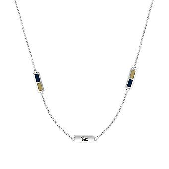 University Of Pittsburgh Sterling Silver Engraved Triple Station Necklace In Blue & Tan