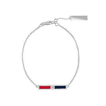 Boston Red Sox Sterling Silver Diamond Bar Chain Bracelet In Red & Blue