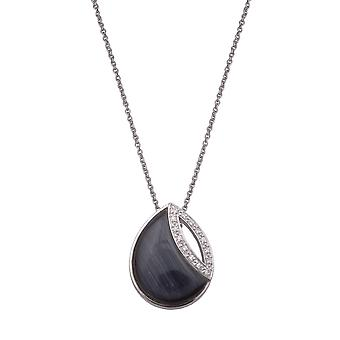 PENDANT WITH CHAIN PEARSHAPE 925 SILVER WITH ZIRONIUM  BLACK CATEYE