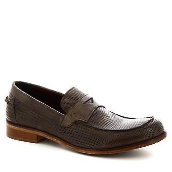 Leonardo Schuhe Herren handgemachte Slip-on Loafers Schuhe in Asche grau Kalbsleder
