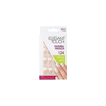Elegant Touch French Manicure Natural French False Nails 124 - 24 Nails With Glue In 10 Sizes