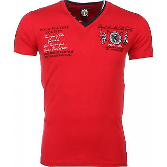 E T-shirt - Short Sleeves - Embroidery Polo Players - Red
