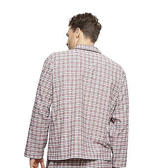 Cyberjammies 6406 Men's Joseph Burgundy Red Mix Check Cotton Long Sleeve Pyjama Top