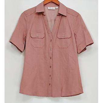 Denim & Co. naiset ' s Top Stretch denim lyhythihainen leiri vaaleanpunainen A252728
