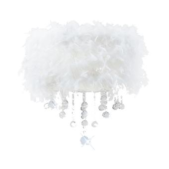 Diyas Ibis Ceiling With White Feather Shade 3 Light Polished Chrome / Crystal