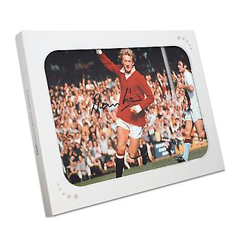 Denis Law assinou Manchester United Photo In Gift Box