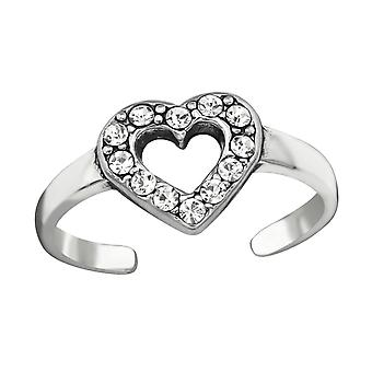 Heart - 925 Sterling Silver Toe Rings - W38441X