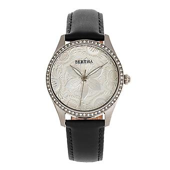 Bertha Dixie Floral Engraved Leather-Band Watch - Noir