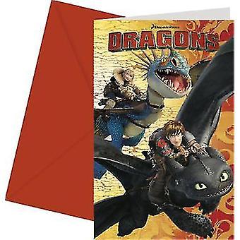 Dragons party inbjudningskort Dragon part Viking part barn födelsedag 6 bitar