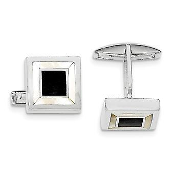 925 Sterling Silver Simulated Mother of Pearl and Enamel Cuff Links 925 Sterling Silver Simulated Mother of Pearl and Enamel Cuff Links 925 Sterling Silver Simulated Mother of Pearl and Enamel Cuff Links 92