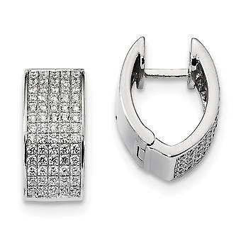925 Sterling Silver Pave Rhodium plated and CZ Cubic Zirconia Simulated Diamond Fancy Hinged Hoop Earrings Jewelry Gifts
