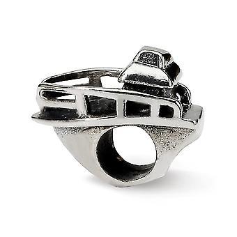 925 Sterling Silber poliert Antike Finish Reflexionen Boot Perle Anhänger Anhänger Halskette Schmuck Geschenke für Frauen