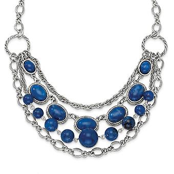 Silver tone Fancy Lobster Closure Blue Beads 16inch With Ext Necklace Jewelry Gifts for Women