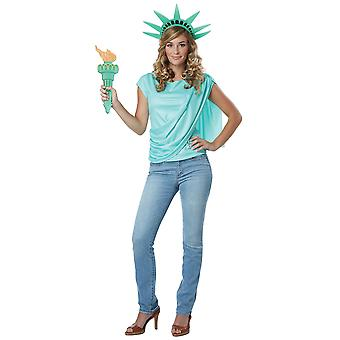 Miss Liberty Statue USA Independence Shirt Crown Torch Womens Costume Kit