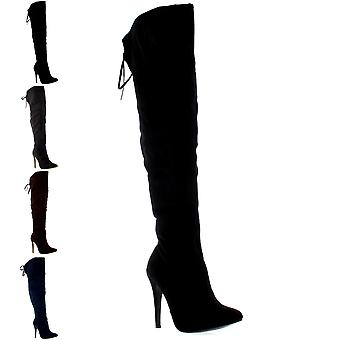 Womens Stiletto Thigh High Platform Bow Stretch Evening High Heels Boots UK 3-9