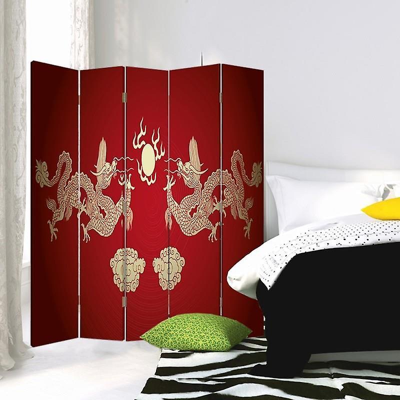 Diviseur de chambre, 5 panneaux, double-sided, toile, deux dragons