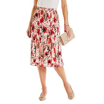 Amalina Ladies Amalina Print Pleat Belted Skirt