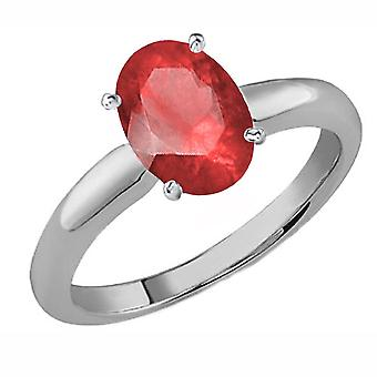 Colección Dazzlingrock 14K 9x7 MM De corte ovalado Ruby Ladies Solitaire Bridal Engagement Ring, Oro Blanco