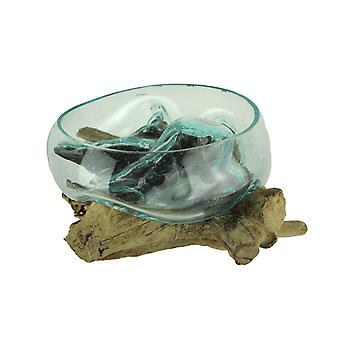 Molten Glass On Gamal Wood Root Sculptural Bowl/Plant Terrarium
