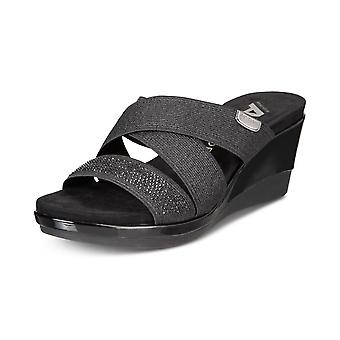 Anne Klein Womens Polly Fabric Open Toe Casual Platform Sandals