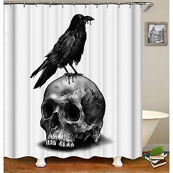 Skull And Raven Shower Curtain