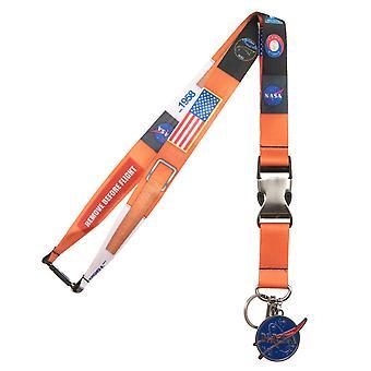 NASA Metal Charm Orange Lanyard