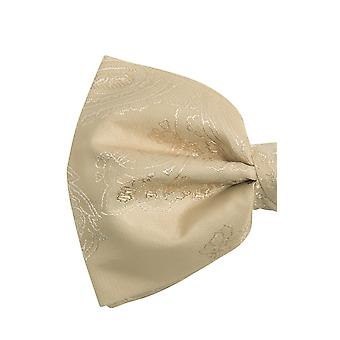 Dobell Mens Champagne Paisley Bow Tie Pre-Tied