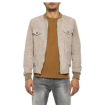 Replay Jeans Suede Bomber Style Front Pocket Detail With Beige