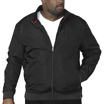 Duke D555 Mens Terron Big Tall King Size Long Sleeve Zipped Bomber Jacket -Black