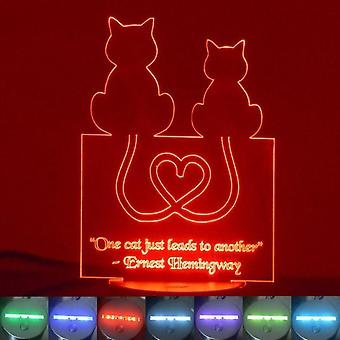 2 Cats Heart Tails and Quote Colour Changing LED Acrylic Light